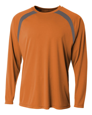 A4 N3003 Spartan Long Sleeve Color Block Crew - Orange Graphite - HIT A Double