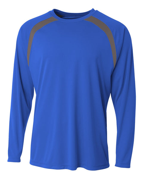 A4 N3003 Spartan Long Sleeve Color Block Crew - Royal Graphite - HIT A Double