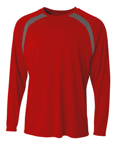 A4 N3003 Spartan Long Sleeve Color Block Crew - Scarlet Graphite - HIT A Double