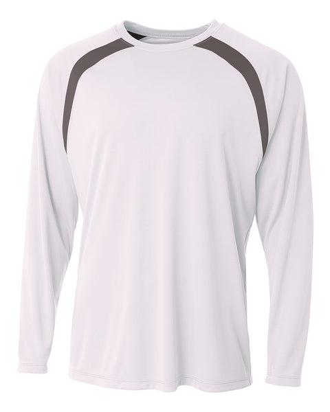 A4 N3003 Spartan Long Sleeve Color Block Crew - White Graphite