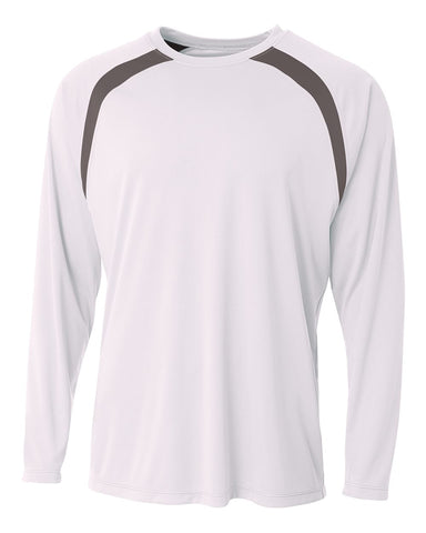 A4 N3003 Spartan Long Sleeve Color Block Crew - White Graphite - HIT A Double