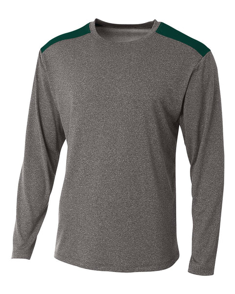 A4 N3101 Tourney Heather Long Sleeve Color Block Crew - Heather Forest