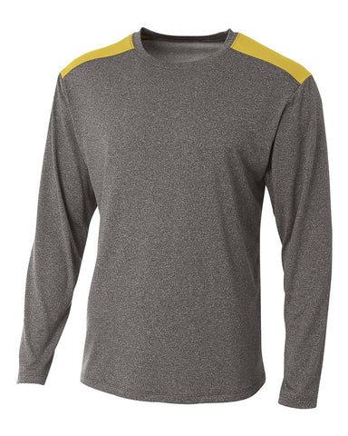 A4 N3101 Tourney Heather Long Sleeve Color Block Crew - Heather Gold