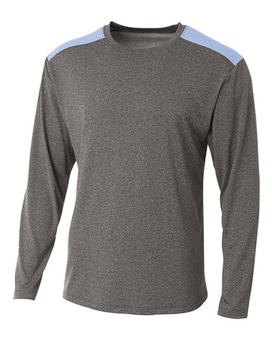 A4 N3101 Tourney Heather Long Sleeve Color Block Crew - Heather Light Blue