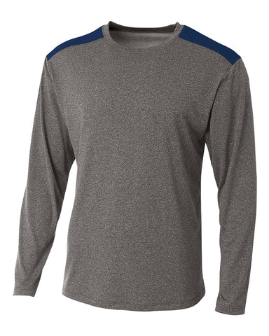 A4 N3101 Tourney Heather Long Sleeve Color Block Crew - Heather Navy