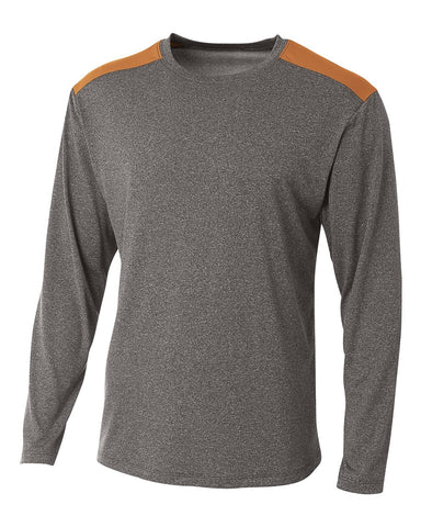 A4 N3101 Tourney Heather Long Sleeve Color Block Crew - Heather Orange