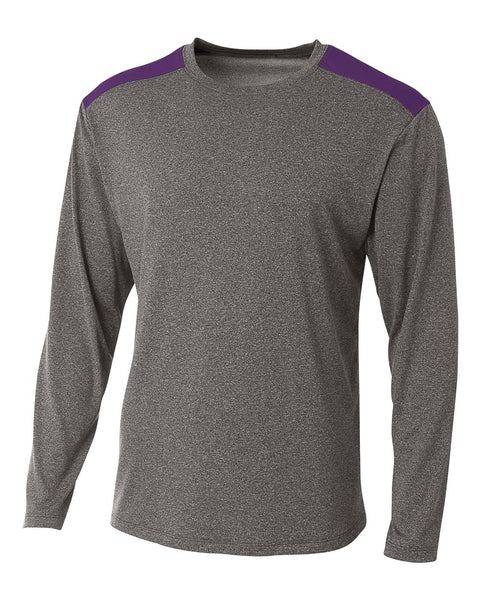 A4 N3101 Tourney Heather Long Sleeve Color Block Crew - Heather Purple
