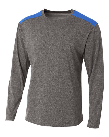 A4 N3101 Tourney Heather Long Sleeve Color Block Crew - Heather Royal