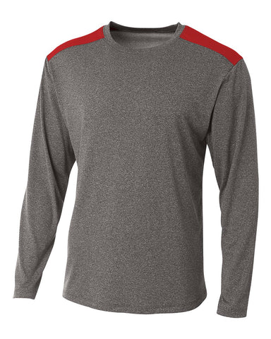 A4 N3101 Tourney Heather Long Sleeve Color Block Crew - Heather Scarlet