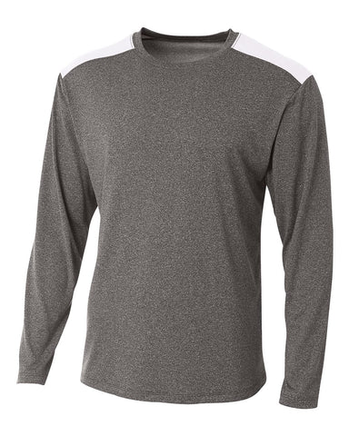 A4 N3101 Tourney Heather Long Sleeve Color Block Crew - Heather White