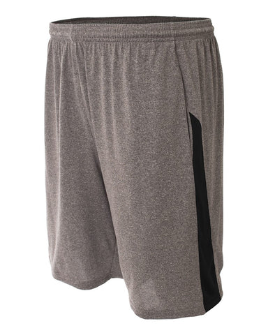 A4 N5005 Pocketed Color Block Short - Heather Black