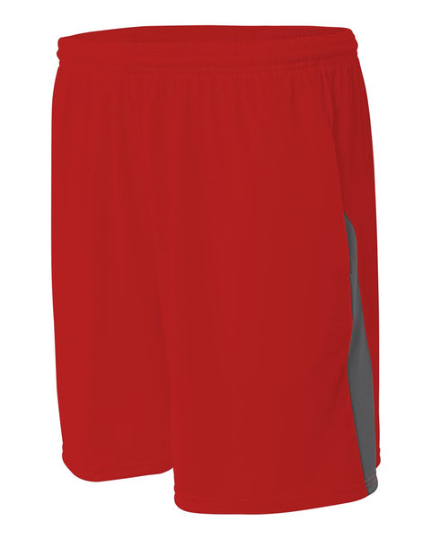 A4 N5005 Pocketed Color Block Short - Scarlet Graphite