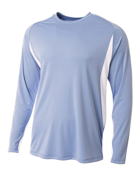 A4 N3183 Long Sleeve Color Block Tee - Light Blue White