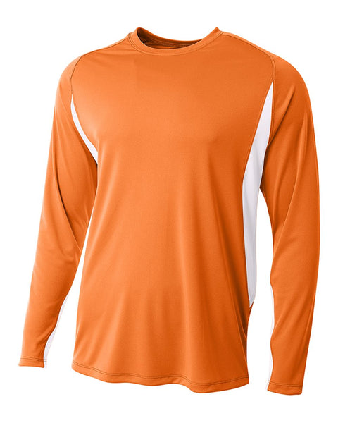 A4 N3183 Long Sleeve Color Block Tee - Orange White