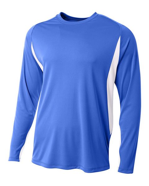 A4 N3183 Long Sleeve Color Block Tee - Royal White