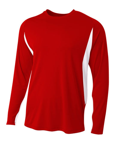 A4 N3183 Long Sleeve Color Block Tee - Scarlet White