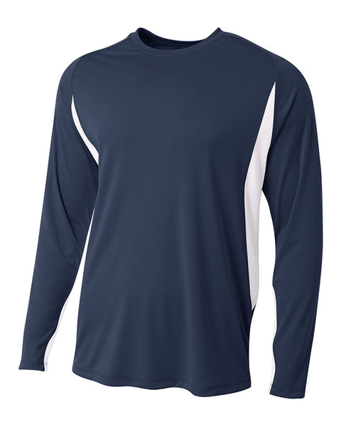 A4 N3183 Long Sleeve Color Block Tee - Navy White