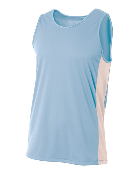 A4 N2009 Pacer Singlet - Light Blue White