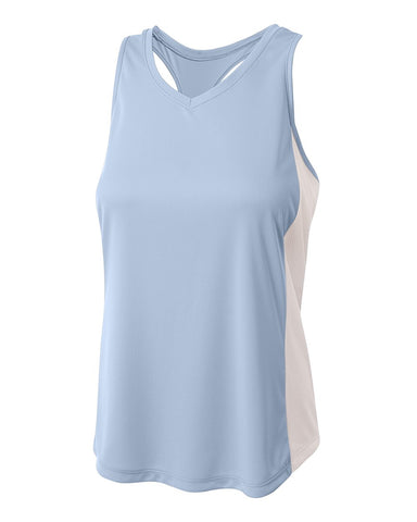 A4 NW2009 Pacer Singlet with Racerback - Light Blue White