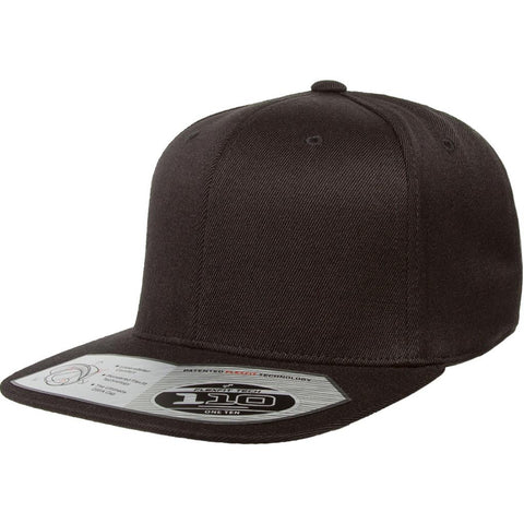 Flexfit 110 Flat Bill Snapback Cap - Black