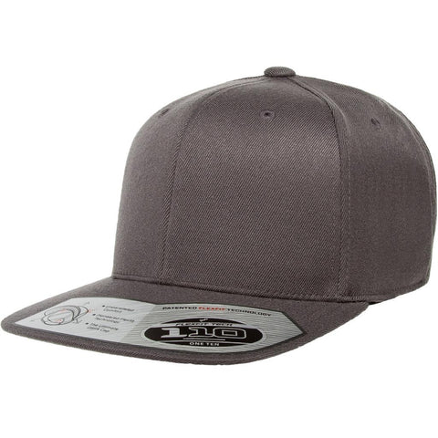 Flexfit 110 Flat Bill Snapback Cap - Dark Gray - HIT A Double