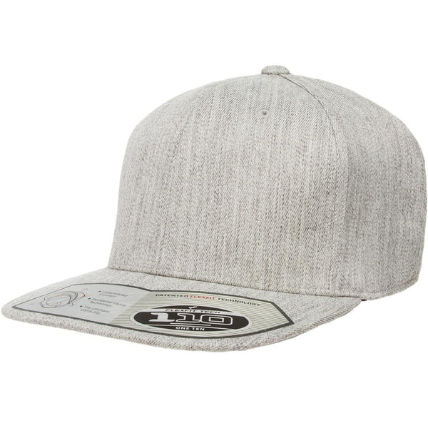 Flexfit 110 Flat Bill Snapback Cap - Heather Gray - HIT A Double