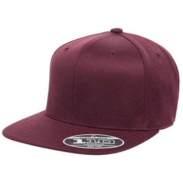 Flexfit 110 Flat Bill Snapback Cap - Maroon - HIT A Double