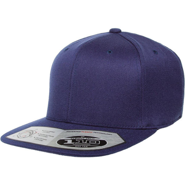 Flexfit 110 Flat Bill Snapback Cap - Navy - HIT A Double