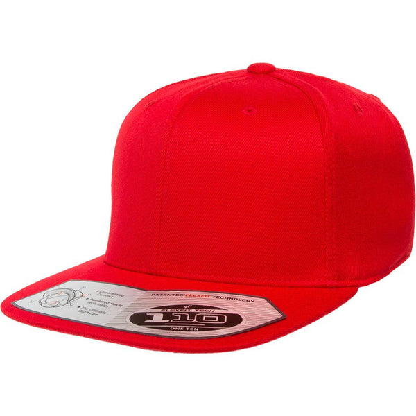Flexfit 110 Flat Bill Snapback Cap - Red