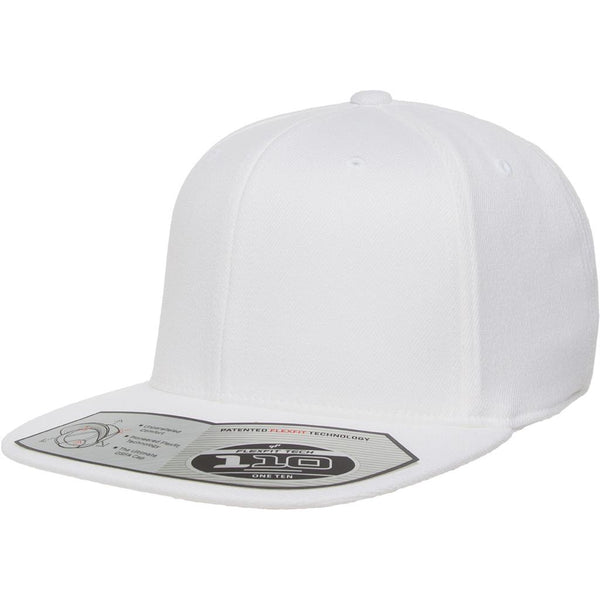 Flexfit 110 Flat Bill Snapback Cap - White