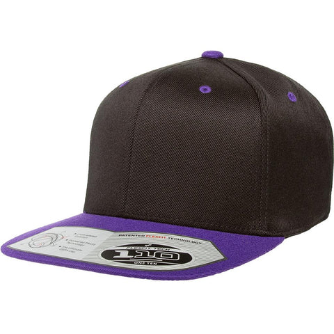 Flexfit 110 Flat Bill Snapback Cap - Black Purple