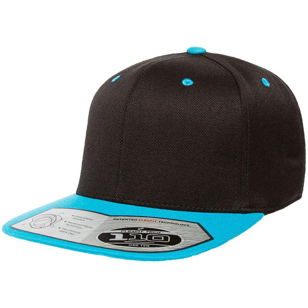 Flexfit 110 Flat Bill Snapback Cap - Black Teal - HIT A Double