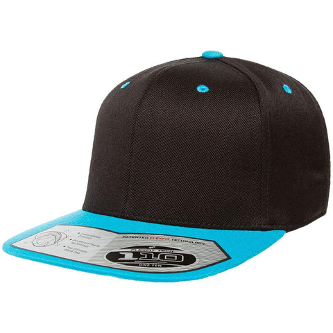Flexfit 110 Flat Bill Snapback Cap - Black Teal