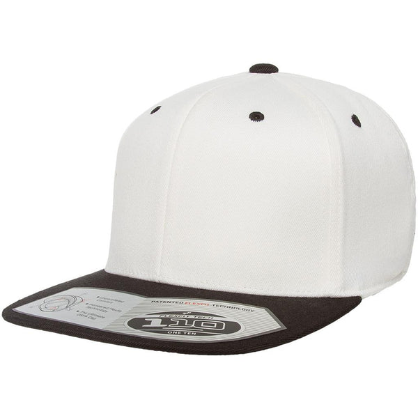 Flexfit 110 Flat Bill Snapback Cap - Natural Black