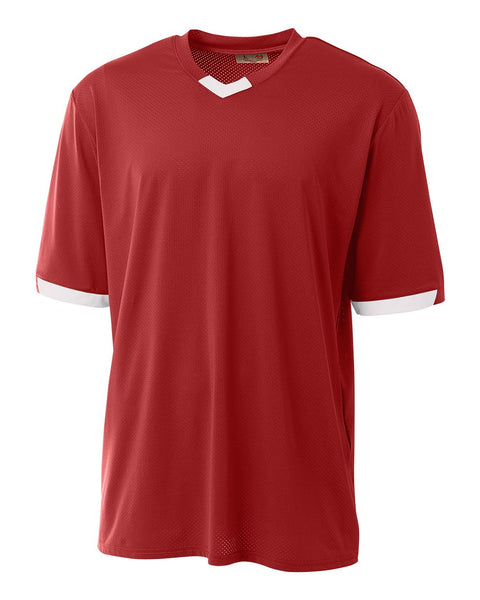 A4 N3011 The Stretch Pro - Mesh Baseball Jersey - Scarlet White
