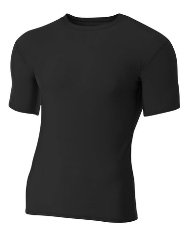 A4 NB3130 Youth Short Sleeve Compression Crew - Black - HIT A Double