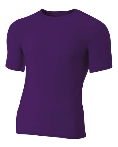 A4 NB3130 Youth Short Sleeve Compression Crew - Purple - HIT A Double