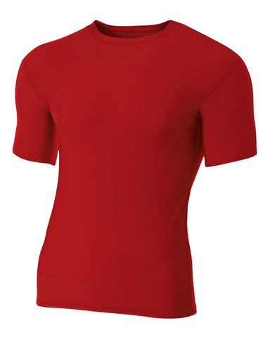A4 NB3130 Youth Short Sleeve Compression Crew - Scarlet - HIT A Double