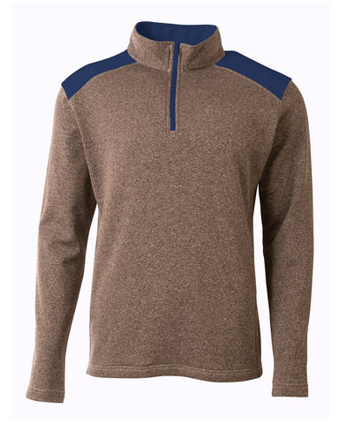 A4 N4094 Tourney Quarter Zip - Heather Navy - HIT A Double