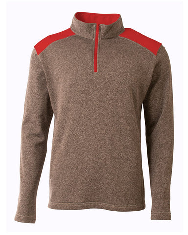 A4 N4094 Tourney Quarter Zip - Heather Scarlet