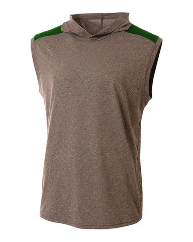 A4 N3031 Tourney Hooded Tee - Heather Forest