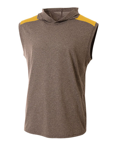 A4 N3031 Tourney Hooded Tee - Heather Gold