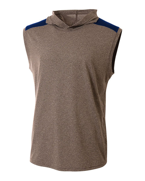 A4 N3031 Tourney Hooded Tee - Heather Navy