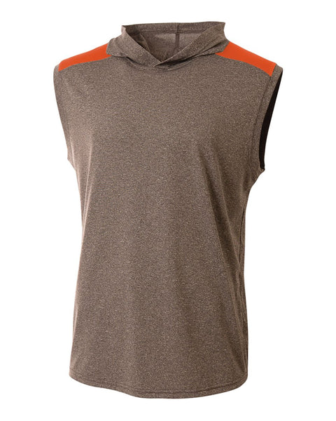 A4 N3031 Tourney Hooded Tee - Heather Orange