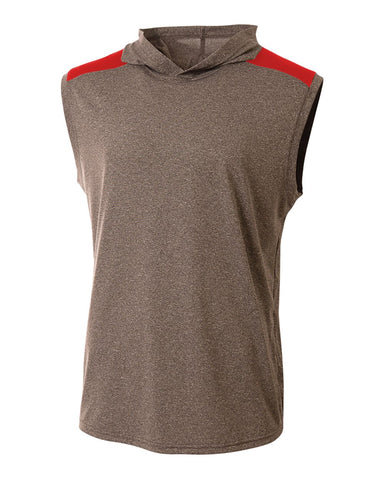 A4 N3031 Tourney Hooded Tee - Heather Scarlet