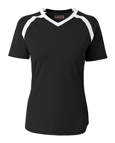 A4 NG3019 The Ace - Short Sleeve Volleyball Jersey - Black White - HIT A Double