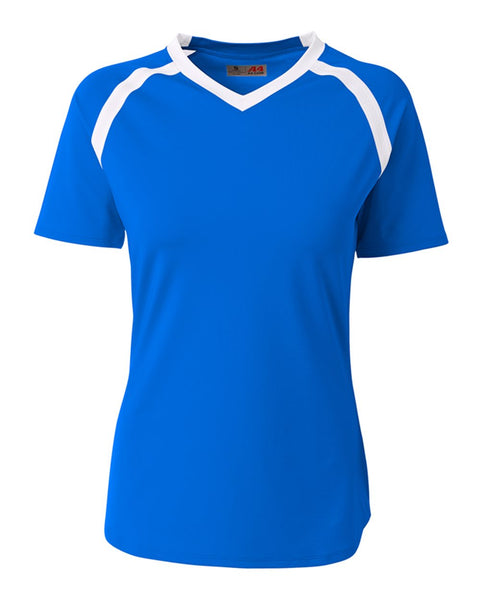 A4 NG3019 The Ace - Short Sleeve Volleyball Jersey - Royal White - HIT A Double