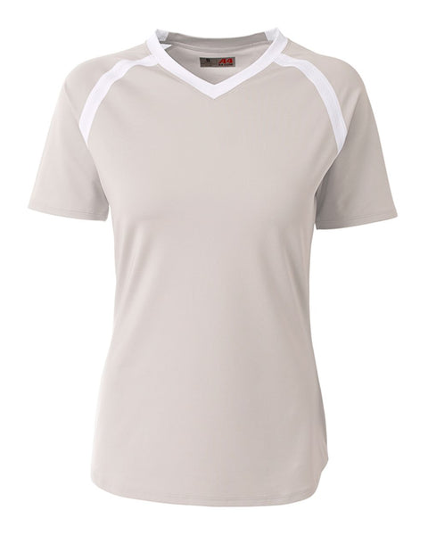 A4 NG3019 The Ace - Short Sleeve Volleyball Jersey - Silver White - HIT A Double