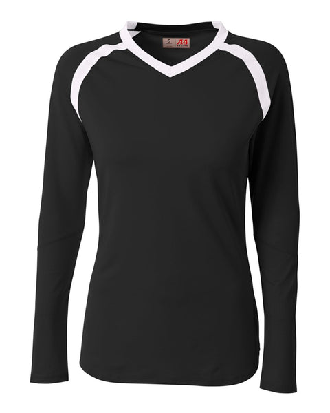 A4 NG3020 The Ace - Long Sleeve Volleyball Jersey - Black White - HIT A Double