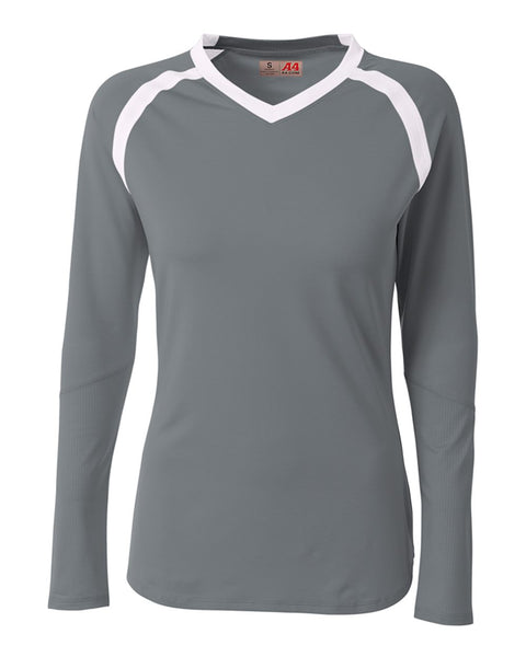 A4 NG3020 The Ace - Long Sleeve Volleyball Jersey - Graphite White - HIT A Double